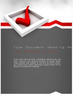 Red Check Mark Word Template, Cover Page, 11153, Education & Training — PoweredTemplate.com