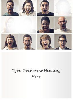 Screaming People Word Template, Cover Page, 11161, People — PoweredTemplate.com