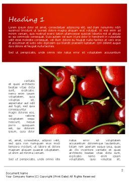 Cherries Word Template, First Inner Page, 11181, Agriculture and Animals — PoweredTemplate.com