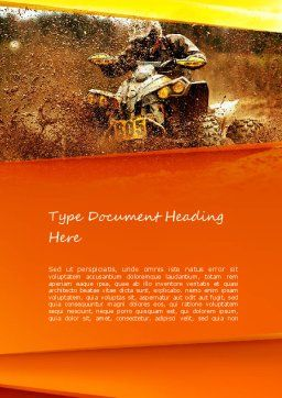 ATV Racing Word Template, Cover Page, 11210, Sports — PoweredTemplate.com