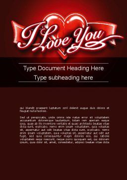 I Love You Word Template, Cover Page, 11213, Holiday/Special Occasion — PoweredTemplate.com