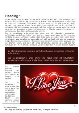 I Love You Word Template, First Inner Page, 11213, Holiday/Special Occasion — PoweredTemplate.com