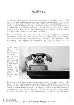 Old Fashioned Telephone Word Template First Inner Page