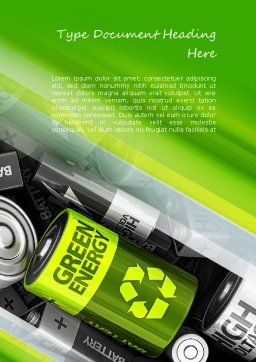 Green Energy Battery Word Template, Cover Page, 11224, Technology, Science & Computers — PoweredTemplate.com