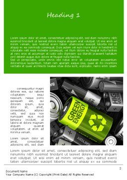 Green Energy Battery Word Template, First Inner Page, 11224, Technology, Science & Computers — PoweredTemplate.com