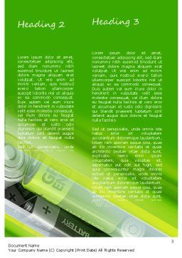 Green Energy Battery Word Template, Second Inner Page, 11224, Technology, Science & Computers — PoweredTemplate.com