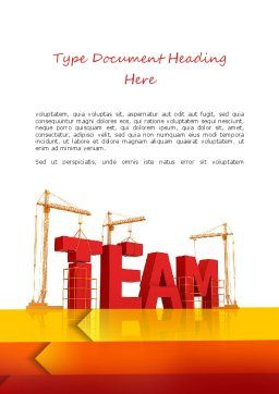 Team Building Under Construction Word Template, Cover Page, 11226, Careers/Industry — PoweredTemplate.com