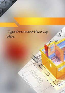3D House Draft Word Template, Cover Page, 11232, Construction — PoweredTemplate.com
