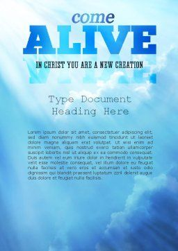 Come Alive Word Template, Cover Page, 11233, Religious/Spiritual — PoweredTemplate.com