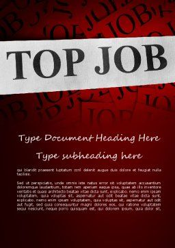 Top Job Word Template, Cover Page, 11243, Careers/Industry — PoweredTemplate.com