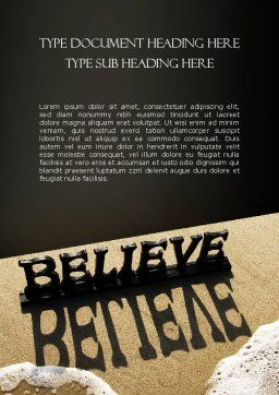 Believe Word Template, Cover Page, 11262, Education & Training — PoweredTemplate.com