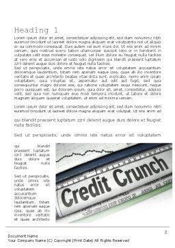 Credit Crunch Headline Word Template First Inner Page