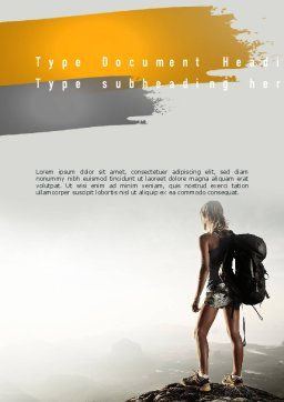 Woman Hiker with Backpack Word Template, Cover Page, 11276, Sports — PoweredTemplate.com