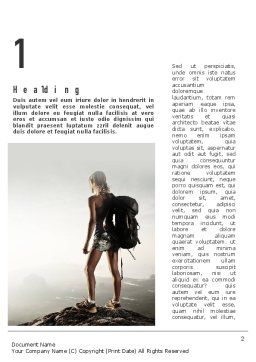Woman Hiker with Backpack Word Template, First Inner Page, 11276, Sports — PoweredTemplate.com