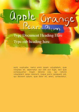 Vivid Fruits Word Template Cover Page