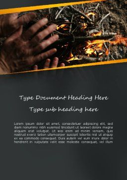 Bonfire Warmth Word Template, Cover Page, 11282, General — PoweredTemplate.com