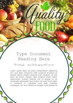 Quality Food Word Template, Cover Page, 11288, Food & Beverage — PoweredTemplate.com