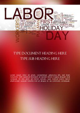 Labor Day Word Cloud Word Template, Cover Page, 11292, Holiday/Special Occasion — PoweredTemplate.com