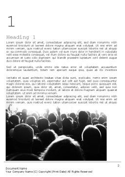 Silhouettes of Concert Crowd Word Template First Inner Page