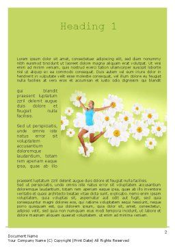 Happy Jumping Girl Word Template, First Inner Page, 11299, People — PoweredTemplate.com