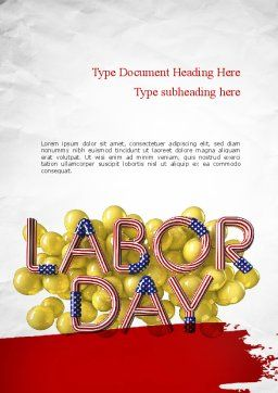 3D Labor Day Word Template, Cover Page, 11302, Holiday/Special Occasion — PoweredTemplate.com