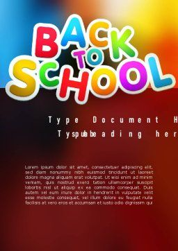 New School Year Word Template, Cover Page, 11311, Education & Training — PoweredTemplate.com