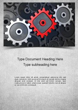 Square Gear Word Template, Cover Page, 11312, Business Concepts — PoweredTemplate.com
