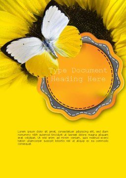 Butterfly on Sunflower Word Template Cover Page