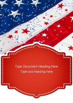 Festive American Flag Word Template, Cover Page, 11323, Holiday/Special Occasion — PoweredTemplate.com
