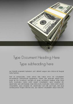Pile of Money Word Template, Cover Page, 11327, Financial/Accounting — PoweredTemplate.com