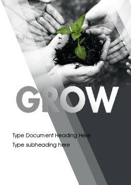 Sprout In Careful Hands Word Template, Cover Page, 11340, Business Concepts — PoweredTemplate.com