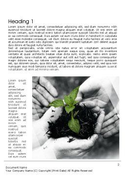 Sprout In Careful Hands Word Template, First Inner Page, 11340, Business Concepts — PoweredTemplate.com
