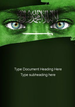 Saudi Arabia Flag Word Template, Cover Page, 11344, Flags/International — PoweredTemplate.com