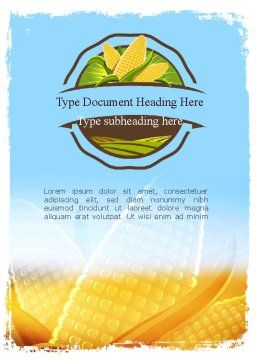 Maize Theme Word Template, Cover Page, 11358, Agriculture and Animals — PoweredTemplate.com
