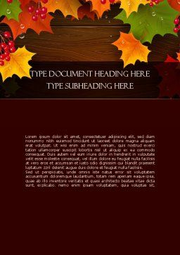 Fall Theme Word Template, Cover Page, 11360, Nature & Environment — PoweredTemplate.com