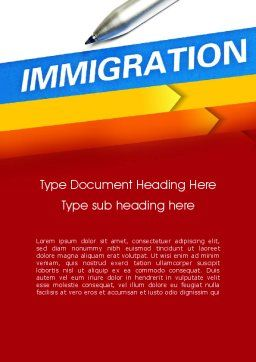 Immigration Word Template, Cover Page, 11363, Consulting — PoweredTemplate.com