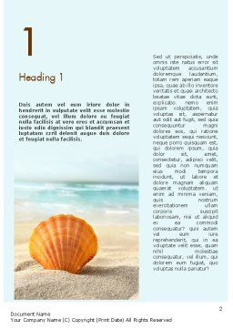 Shell On The Beach Word Template, First Inner Page, 11365, Nature & Environment — PoweredTemplate.com