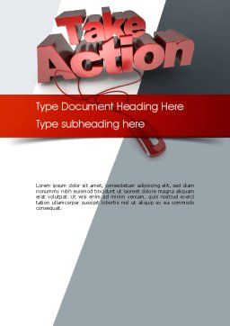 Take Action Word Template, Cover Page, 11366, Careers/Industry — PoweredTemplate.com