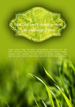 Green Grass Theme Word Template Cover Page