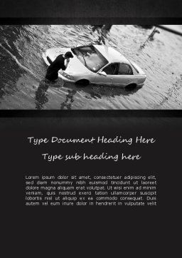 Car Flood Word Template, Cover Page, 11393, Cars/Transportation — PoweredTemplate.com