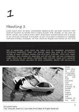 Car Flood Word Template, First Inner Page, 11393, Cars/Transportation — PoweredTemplate.com