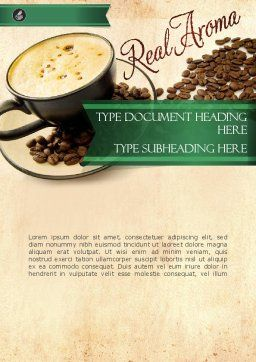 Mocha Coffee Flavor Word Template, Cover Page, 11398, Food & Beverage — PoweredTemplate.com