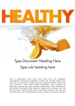 Orange Splash in Water Word Template, Cover Page, 11407, Food & Beverage — PoweredTemplate.com