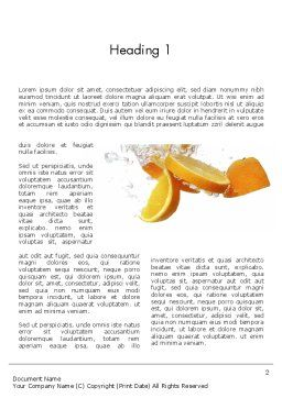 Orange Splash in Water Word Template, First Inner Page, 11407, Food & Beverage — PoweredTemplate.com