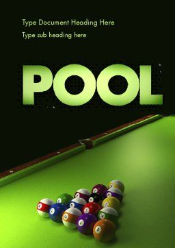 Pool Game Word Template, Cover Page, 11413, Sports — PoweredTemplate.com