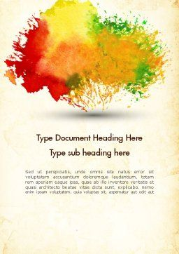 Colorful Watercolor Stains Word Template Cover Page