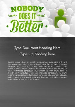 Nobody Does It Better Word Template, Cover Page, 11417, Business Concepts — PoweredTemplate.com