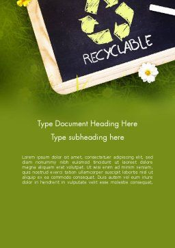 Waste Management Word Template, Cover Page, 11419, Nature & Environment — PoweredTemplate.com