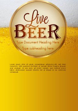Beer Theme Word Template, Cover Page, 11422, Food & Beverage — PoweredTemplate.com
