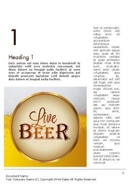 Beer Theme Word Template, First Inner Page, 11422, Food & Beverage — PoweredTemplate.com